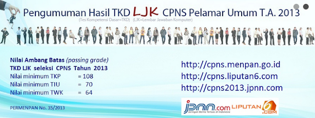 Pengumuman Hasil TKD LJK CPNS UMUM 24 Desember 2013