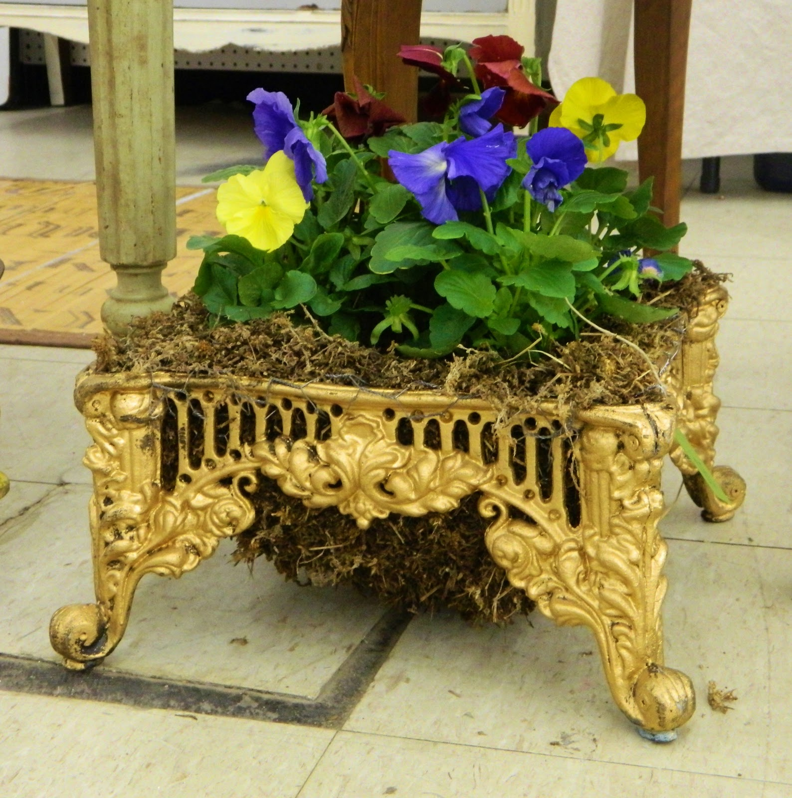 stool turned garden planter