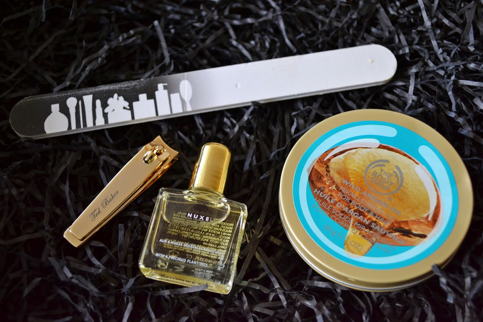 Beauty Tools ft. The Body Shop Wild Argan Miracle Solid Oil, Nuxe Multi Usage Dry Oil, Ted Baker Nail Clipper - Aspiring Londoner