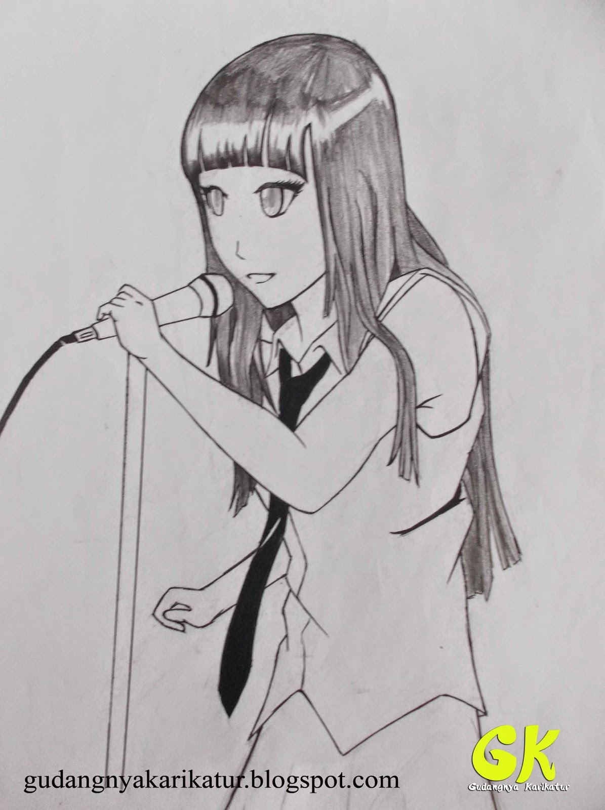 Lukis anime atau gambar kartun lainnya yang anda suka hitam putih