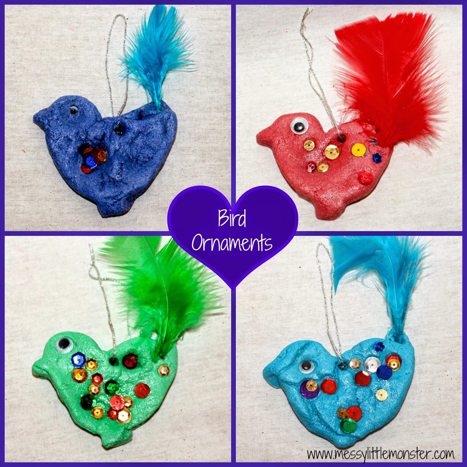salt dough bird ornaments messy little monster