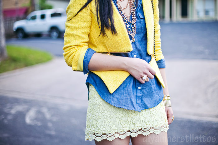 yellow zipper zara tweed jacket, forever 21 chambray shirt, zara yellow lace skirt, rebecca minkoff studded bag, zara ss2012 shoes, austin street style, austin fashion blog, texas style blog, diya liu