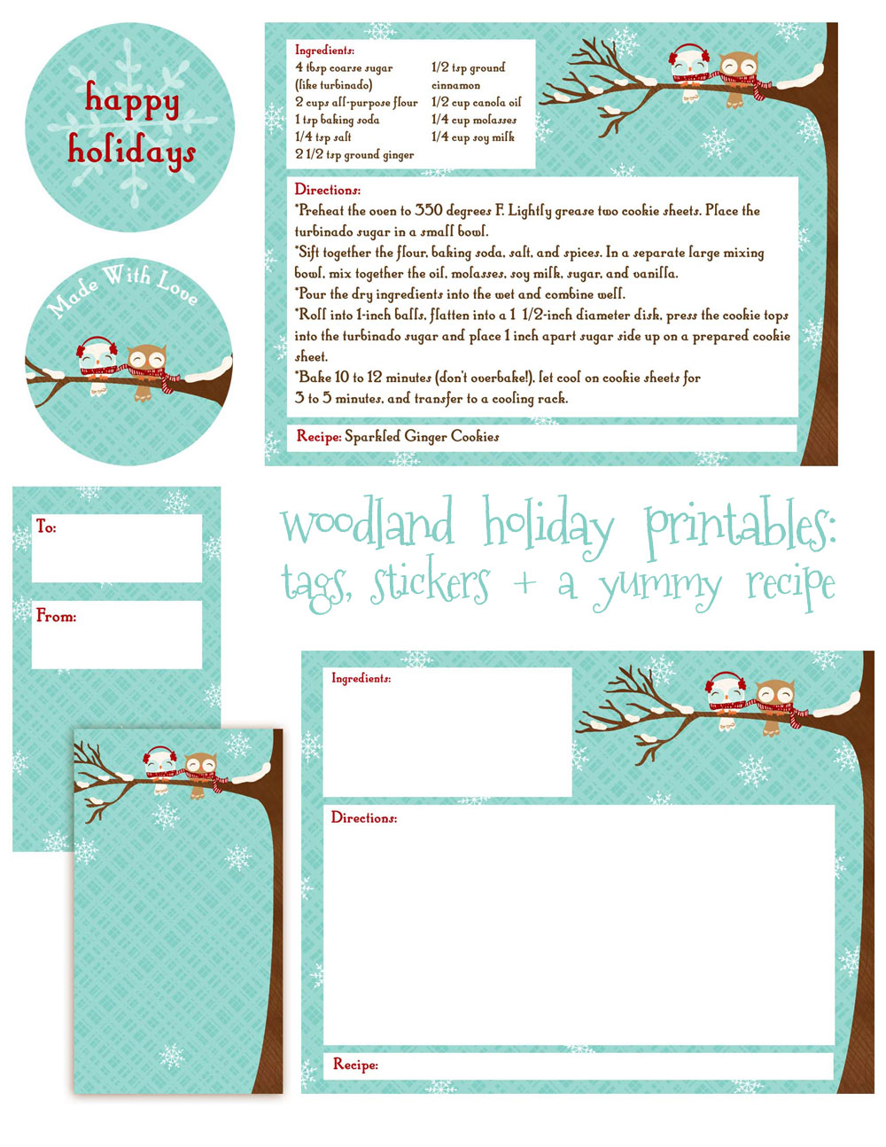Christmas recipe card template free editable holiday recipe card and
