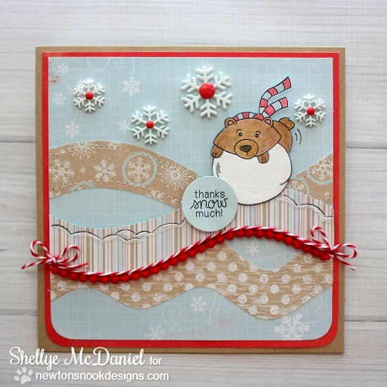 Bear on Snowball Thank You Card by Shellye McDaniel for Newton's Nook Designs | Winter Tails Stamp Set