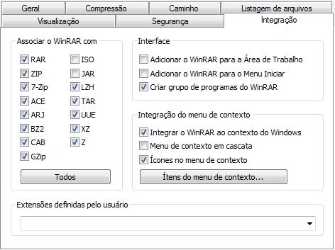 Integração do Winrar com o Windows e itens do menu de contexto