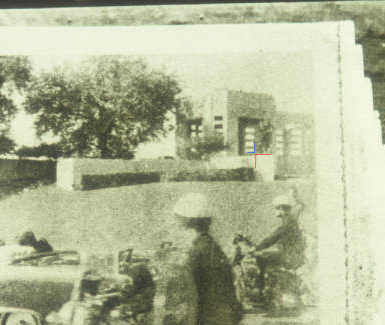 "Zoomed in portion of the famous Moorman photo showing the ""cross"" alignment"
