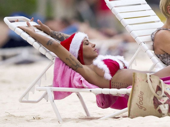 Jodie Marsh Santa bikini