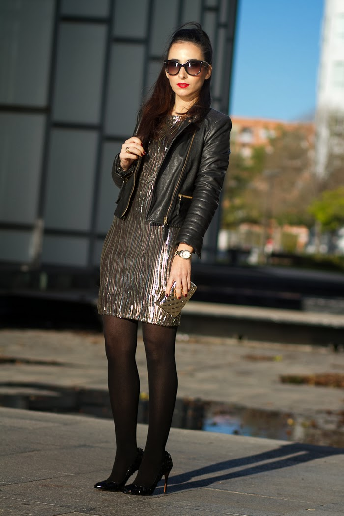 Party outfit with golden sequined dress by Little Mistress and leather biker jacket by Zara styled by Fashion Blogger Withorwithoutshoes