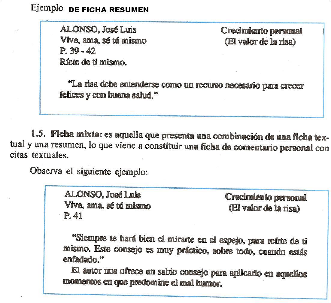 E.B. EL INGENIO - 1ER AÑO: Ejemplo de ficha resumen y ficha mixta