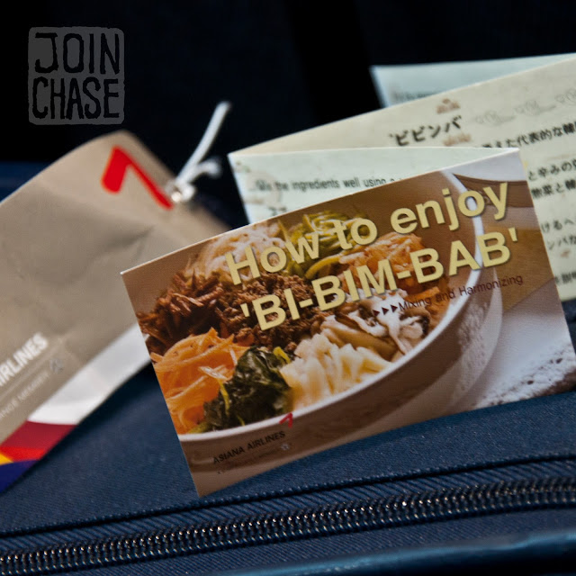 Instructions on how to enjoy bibimbap from Asiana Airlines.