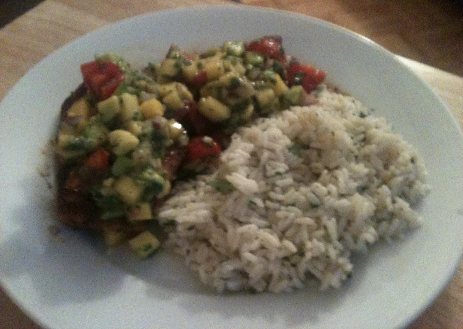 ... : Mole-Rubbed Chicken with Mango-Avocado Salsa and Lime Cilantro Rice