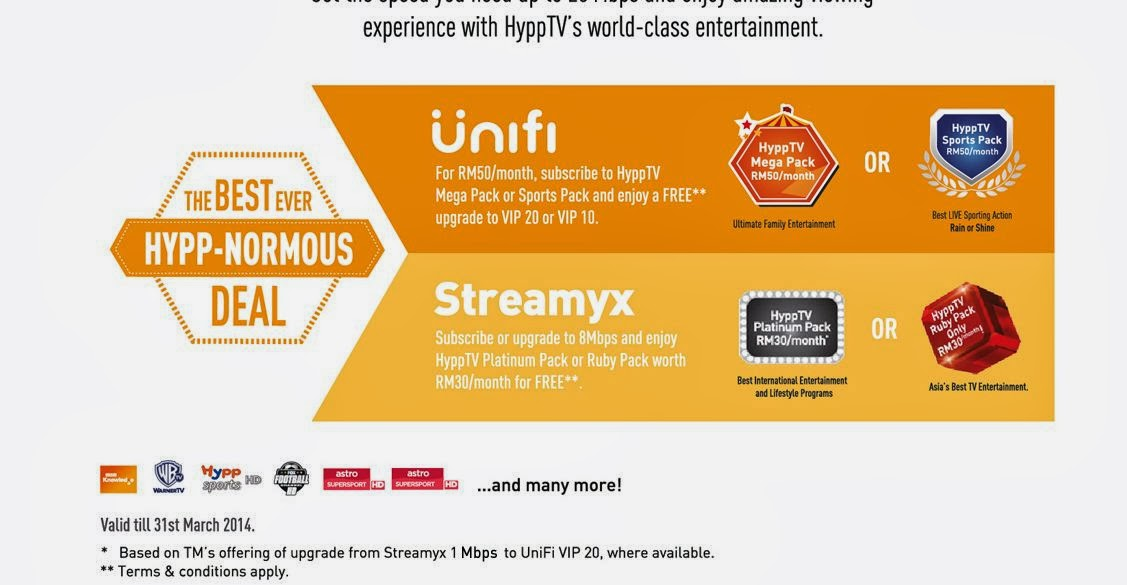 Streamyx and unifi 2014 promotion Hypp nourmous Deal