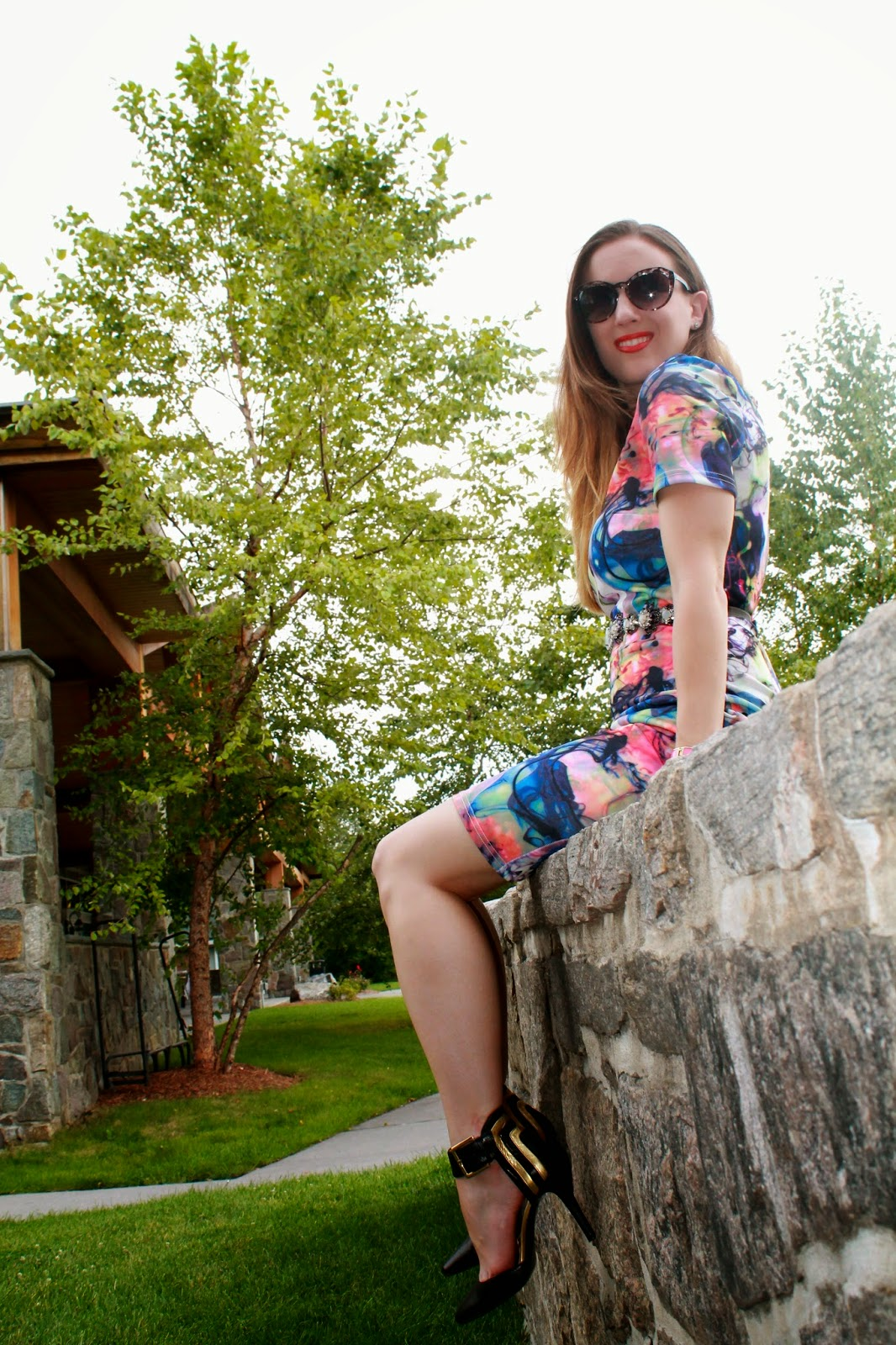 Little Mistress, Nordstrom, Anthropologie, LF Stores, Charming Charlie, Nine West, fashion, style, oodt, what I wore, fall fashion, graphic dress, bodycon dress, luxe, chic, glamour, outfit ideas, fashion blog