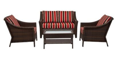 Rolston Red Stripe Wicker Outdoor Patio Conversation Set 4 Pc