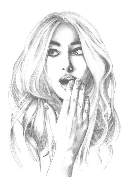 Beautiful woman. Portrait. A4. Cross hatching drawing