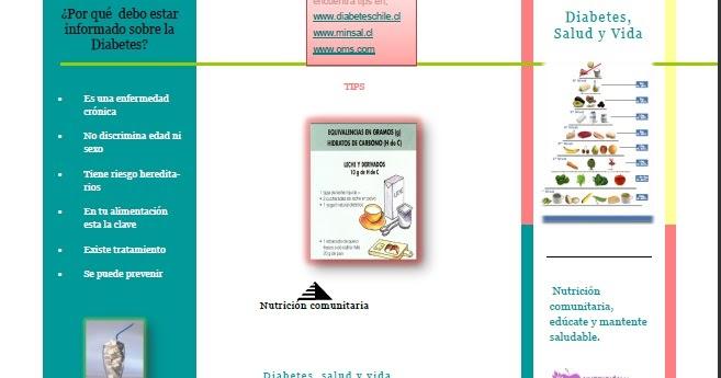 Diabetes, salud y vida: Triptico informativo