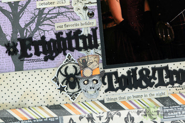 Toil and Trouble Halloween Scrapbook Page by Juliana Michaels featuring Echo Park Paper, Tim Holtz, Jolee's Boutique and Therm O Web Adhesives