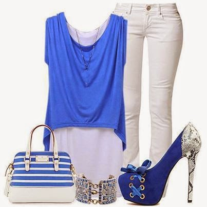 Pretty blue  and white combination outfits for ladies with blue blouse,white slim pent, blue liner  purse and blue heel