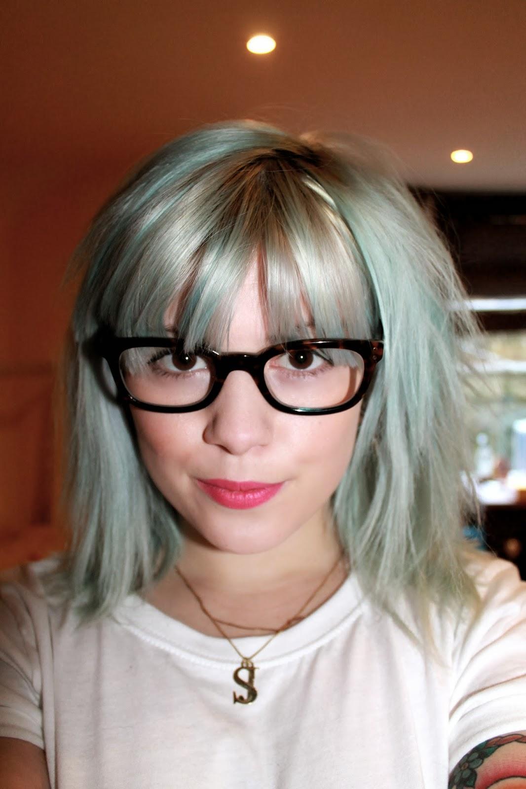 Pastel blue hair blogger