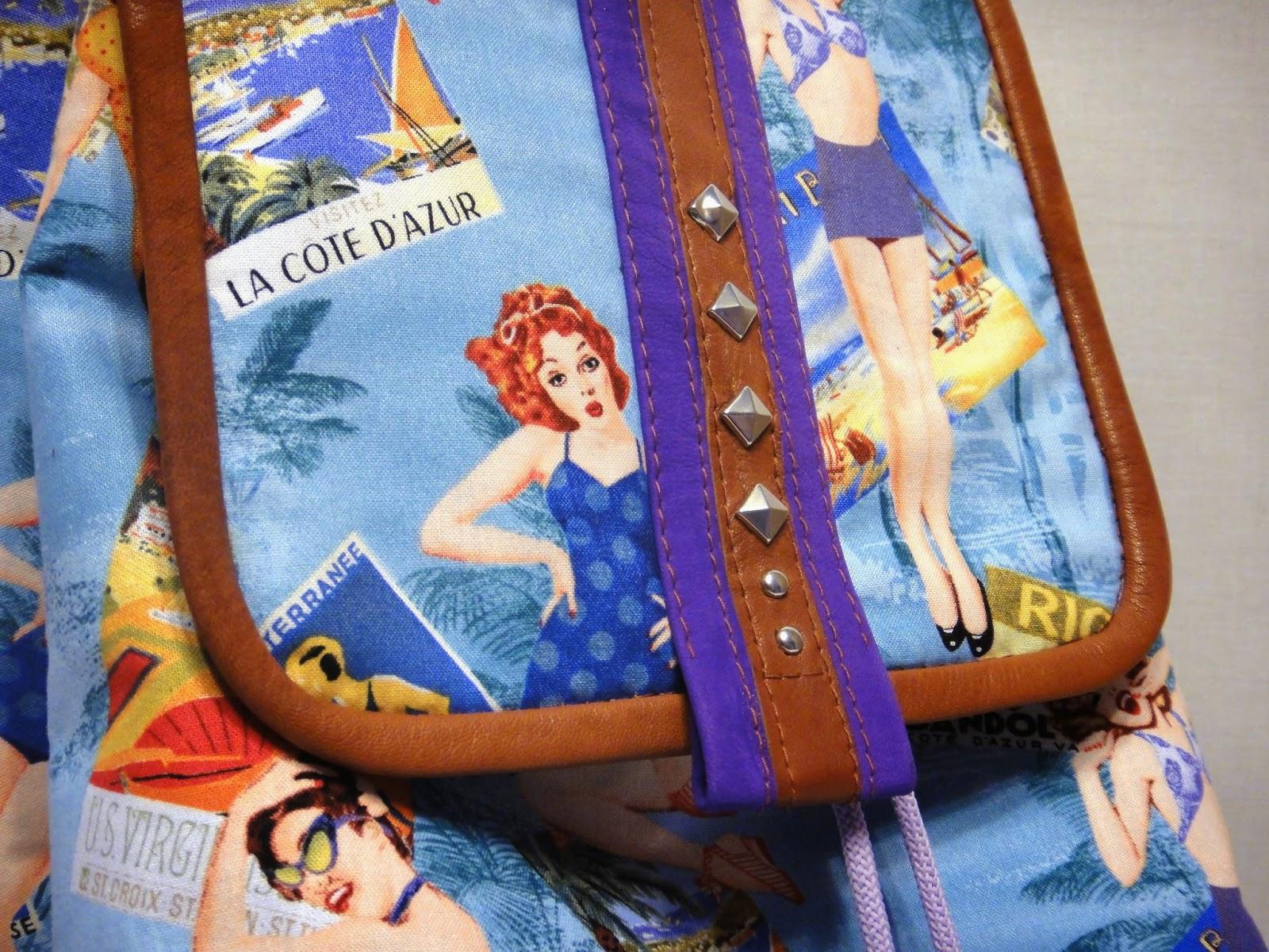 летний рюкзак для девушки с красивым принтом пин-ап