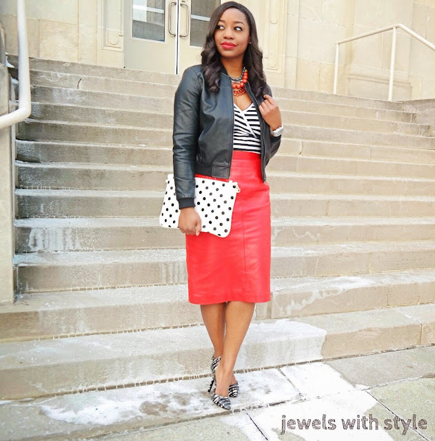 red leather skirt, leather skirt outfit ideas, red skirt, polka dot purse, jewels with style, black fashion blogger, black and white outfit, BCBG pumps