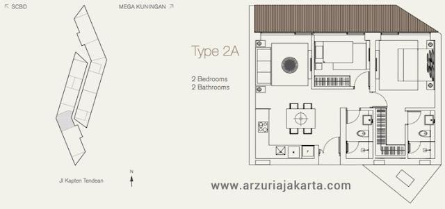 Tipe 2A Apartemen Arzuria Jakarta Selatan