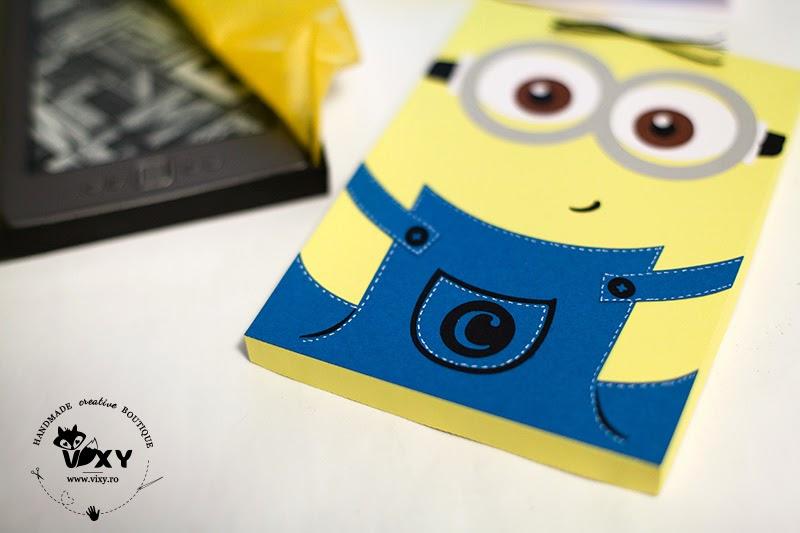 cutie kindle, minion, cutie handmade minion, cutie cadou minion, cutie cadou personalizata