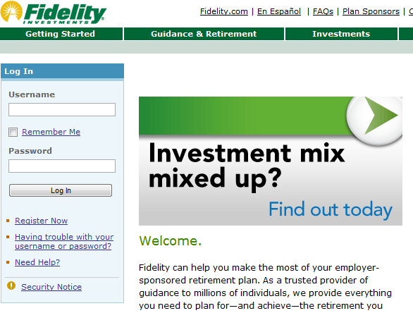 fidelity login investments benefits