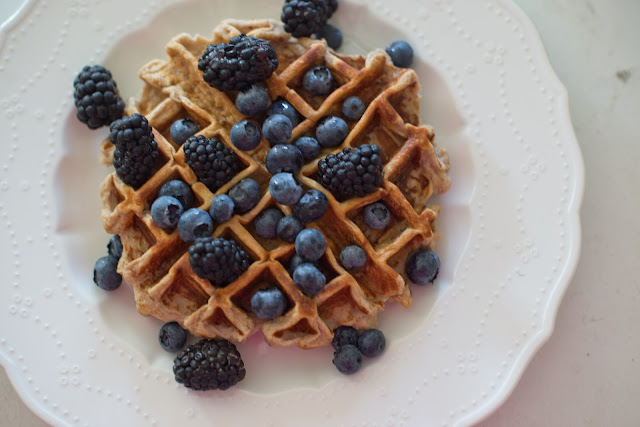 Protein powder waffles--made of protein powder, banana, egg whites, and nuts.  So delicious and filling!