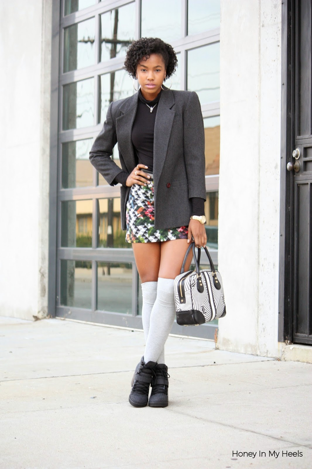 Wearing vintage blazer H&M turtleneck, Topshop mini skirt H&M socks with Topshop boots