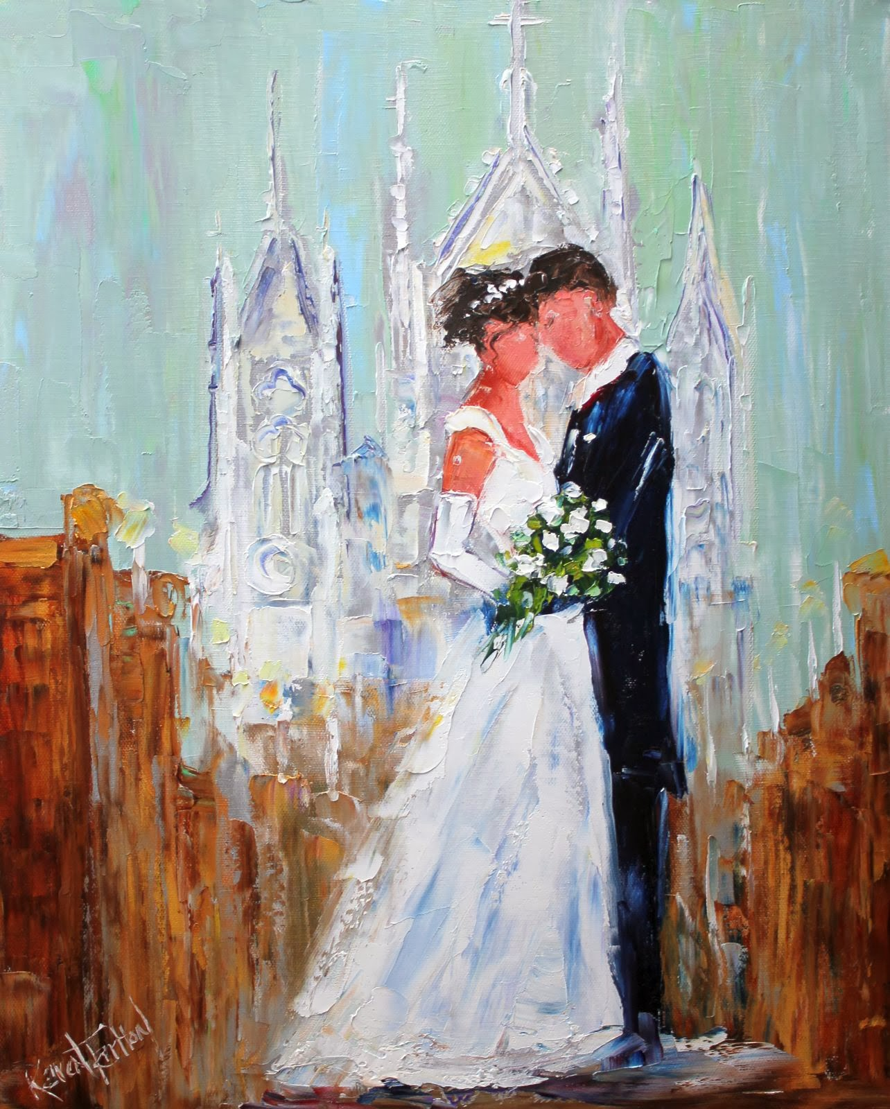 Karen Tarlton: Original oil painting Wedding custom painting by Karen Tarlton