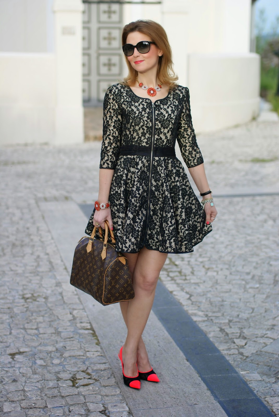 Blackfive black lace dress, Sodini bijoux, Louis Vuitton Speedy bag, Nando Muzi heels, Fashion and Cookies, fashion blogger