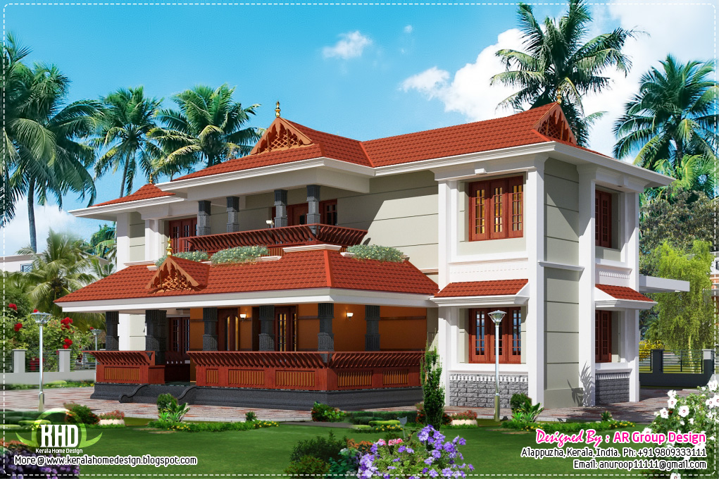Traditional style home design in 2700 kerala for Home designs traditional