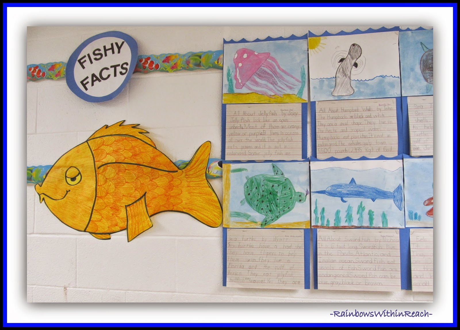 Ocean Bulletin Board to display Writing {Ocean RoundUP via RainbowsWithinReach}
