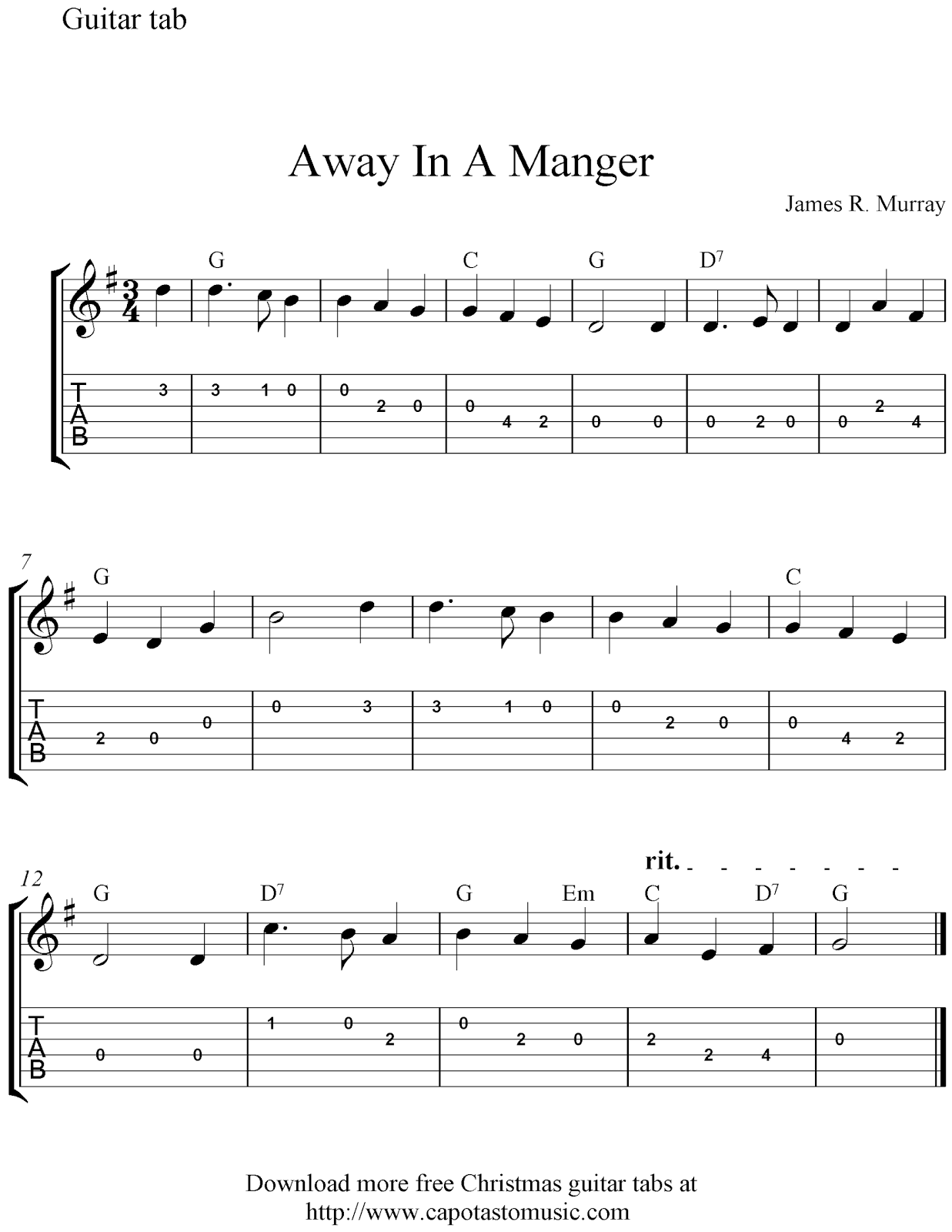 Free easy Christmas guitar tablature sheet music, Away In A Manger