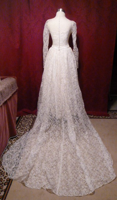 1940s 50s Custom Made Ivory Lace Wedding Gown