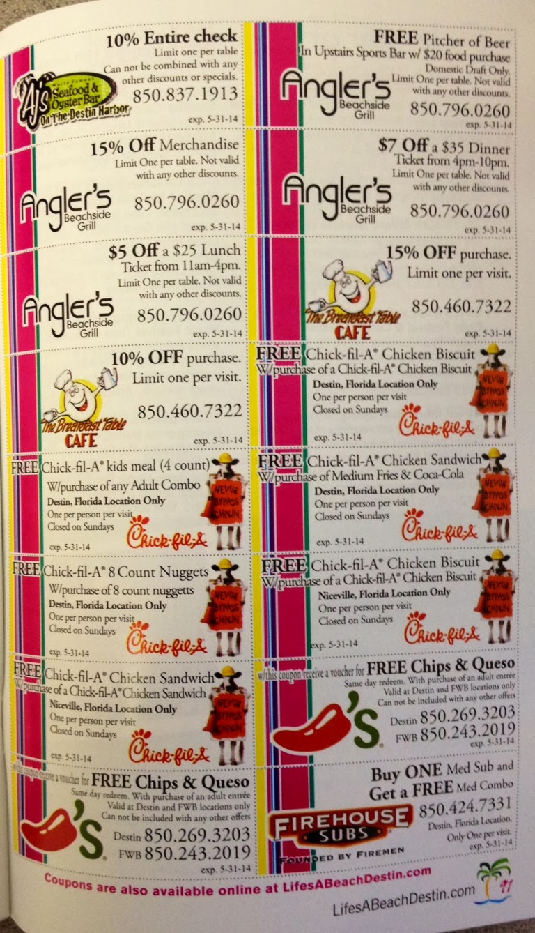 these are the coupon pages in the back of our spring 2014 life s a beach visitor s guide