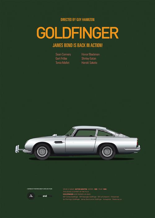 Carros famosos do cinema em posters minimalistas - Jesús Prudencio - Goldfinger