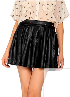 Spiked Leather Skater Skirt