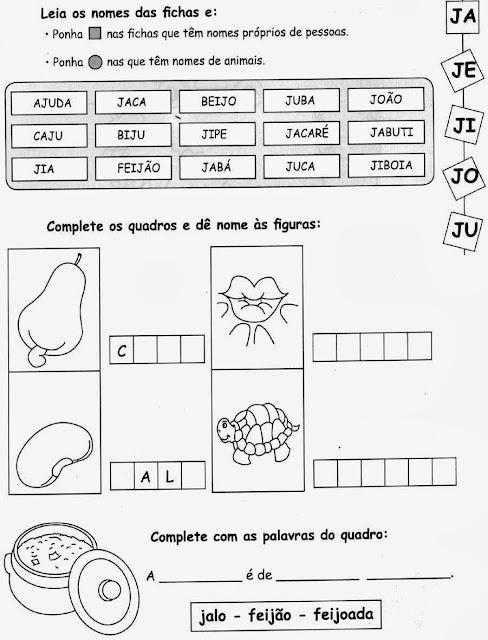 beijo,jabuti,Atividades com a letra J.Ensino Fundamental, Atividades para imprimir, Alfabetização, Letras, 1º ano.