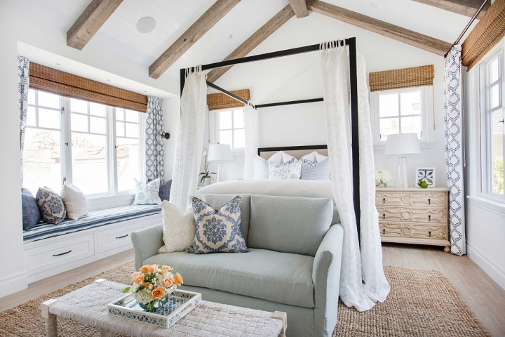 Coastal style newport beach house Beach house master bedroom ideas