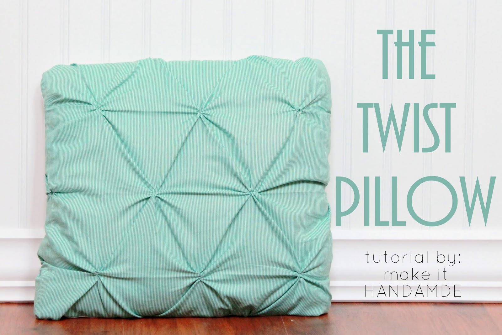 The Twist Pillow-- Free tutorial for a fun smocked throw pillow. |
