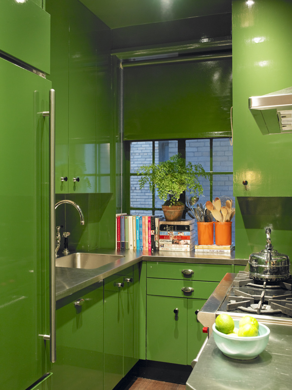 Gloss high gloss shine polish lacquer driven by decor for Green and yellow kitchen designs
