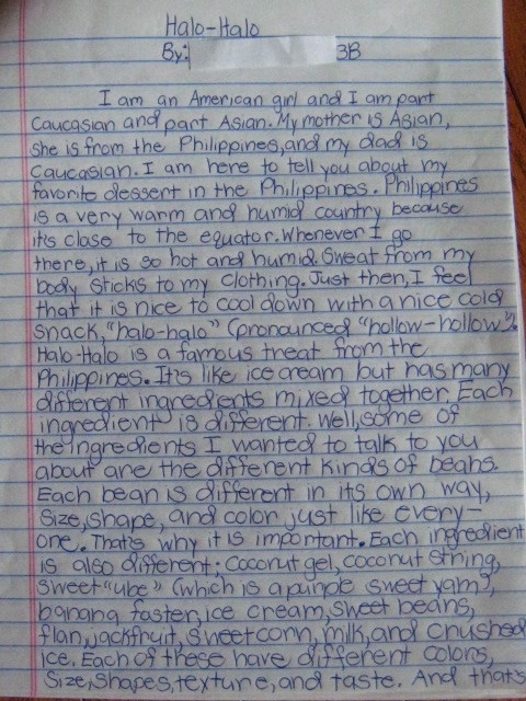 black swamp cornucopia  halo halo our daughter s 3rd grade essay about diversity
