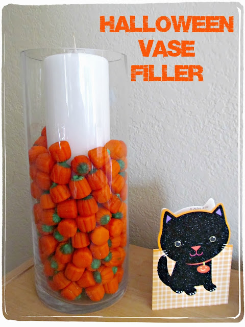 Halloween Vase Filler using Candy Pumpkins (could also use candy corns) | It's Always Ruetten