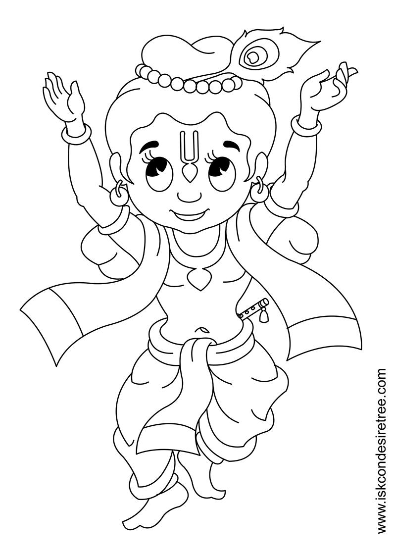 Bhagavat chintan das bhikaji cute krishna line drawing for Krishna coloring pages