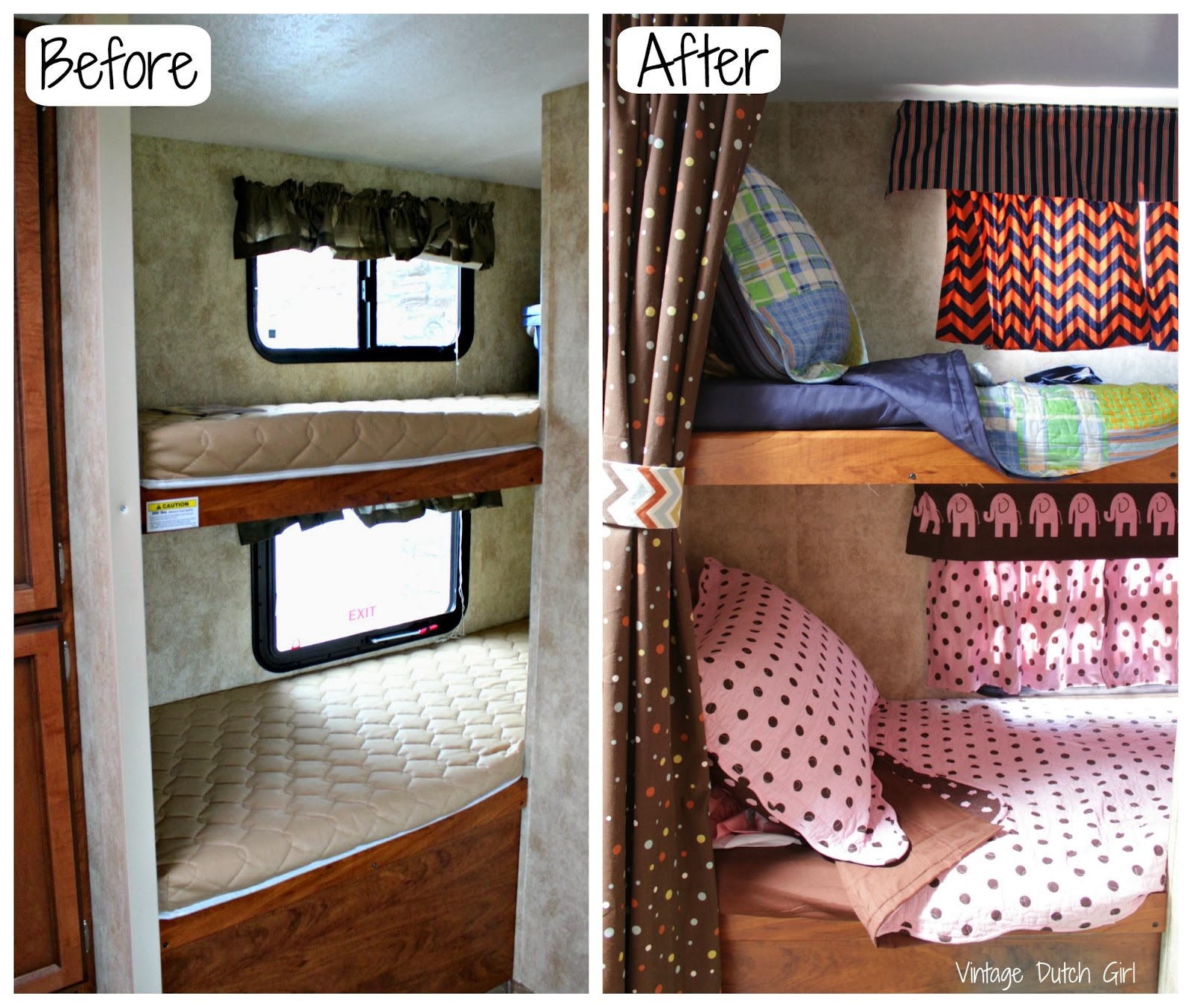 ... and After shot of the bunk bed portion of my Travel Trailer Makeover