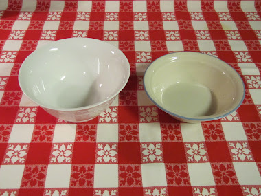 Serving bowl from consignment shop used with a Corelle cereal bowl as the lid