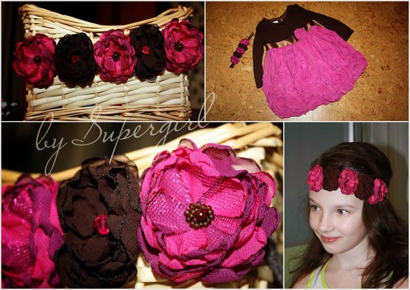 веночек с цветами из ткани