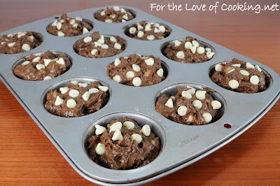 Chocolate, Banana, and White Chocolate Chip Muffins